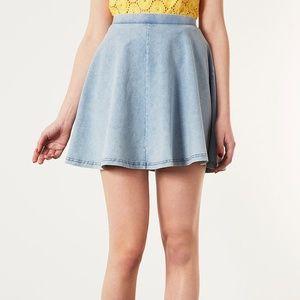 Topshop Blue Acid Denim Look Skater Skirt